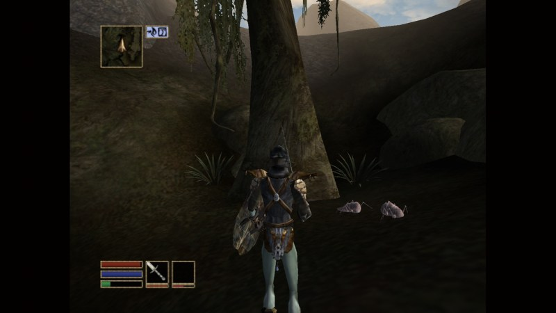Player character standing near a tree and a dead kwama scrib