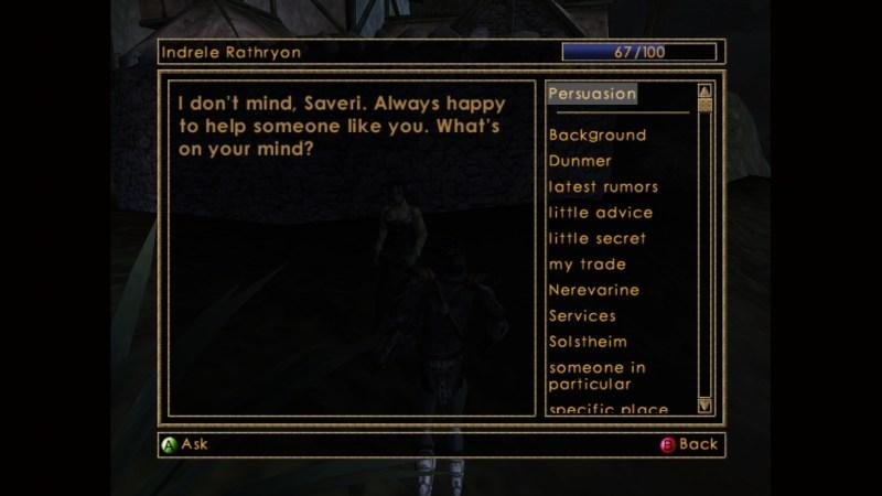 NPC dialogue choice menu