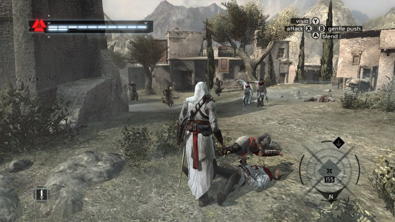 Altair walking through town area, soldiers shown in the distance.