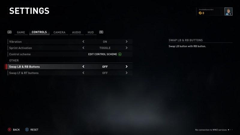 Control settings menu
