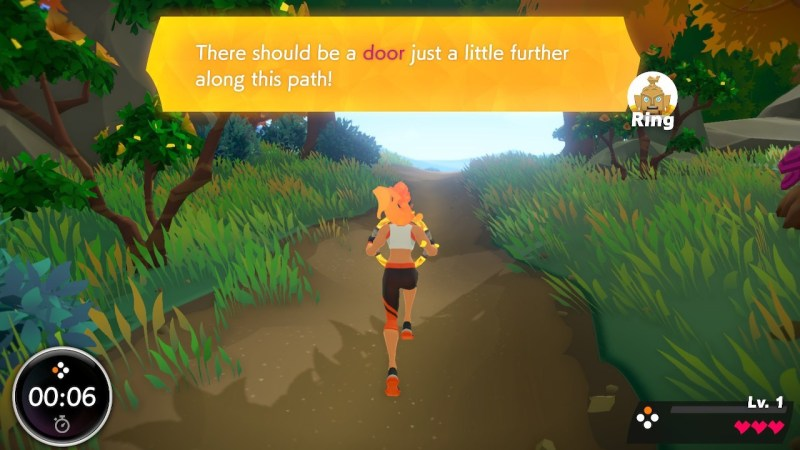 In-game scene illustrating the large size of the dialogue text.