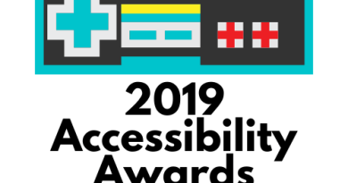 "Retro game controller with text ""2019 Accessibility Awards"""