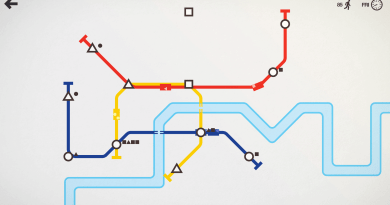 The image shows a screenshot of Mini Metro gameplay. A red, yellow, and blue line connect a variety of triangles, circles, and squares in a simulated city map showing white land and a blue river. The lines intersect at some of the shapes. Each line has a rectangular train traveling along it, holding smaller shapes.