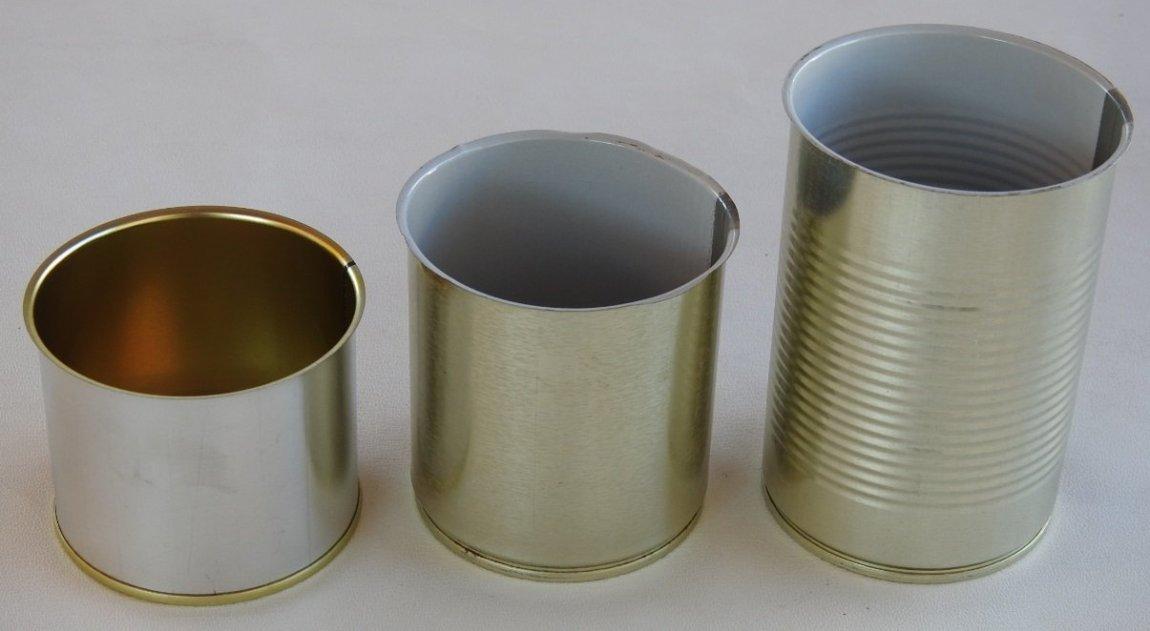 Groupshot of various size metal tin cans