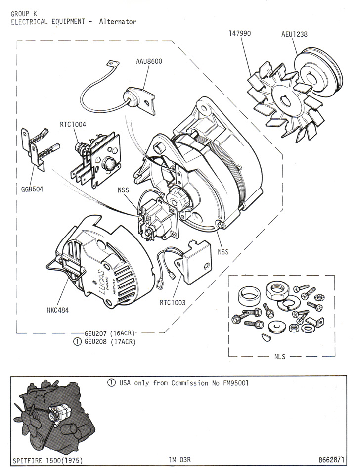 Alternator Components Diagram, Alternator, Free Engine