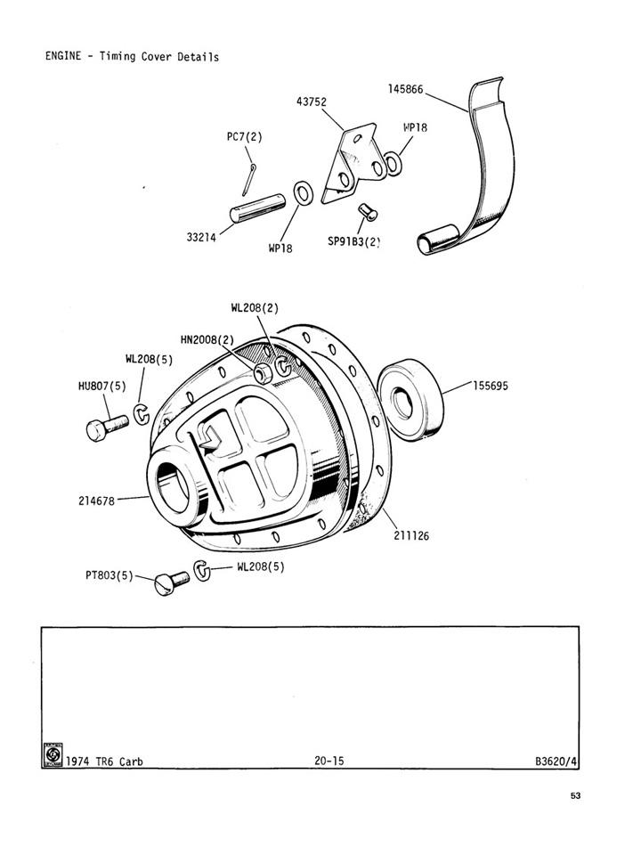 Timing Cover Details : Engine (Carburettor) : Triumph TR6