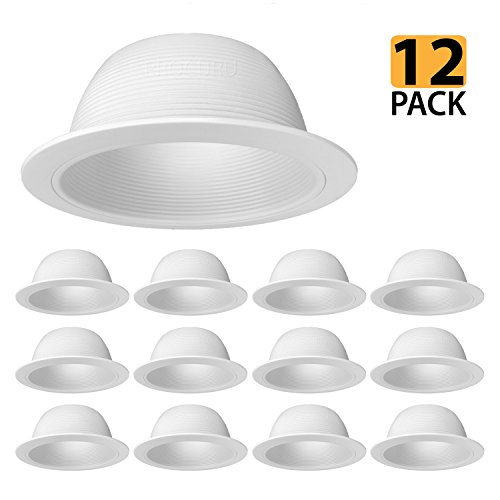 ESD Tech 2 Pack 6 Inch LED Recessed Down Light Black Square Trim 15W Energy Star Wet Location Rated 1050Lm ETL Listed Dimmable Ceiling Retrofit 4000K Baffle