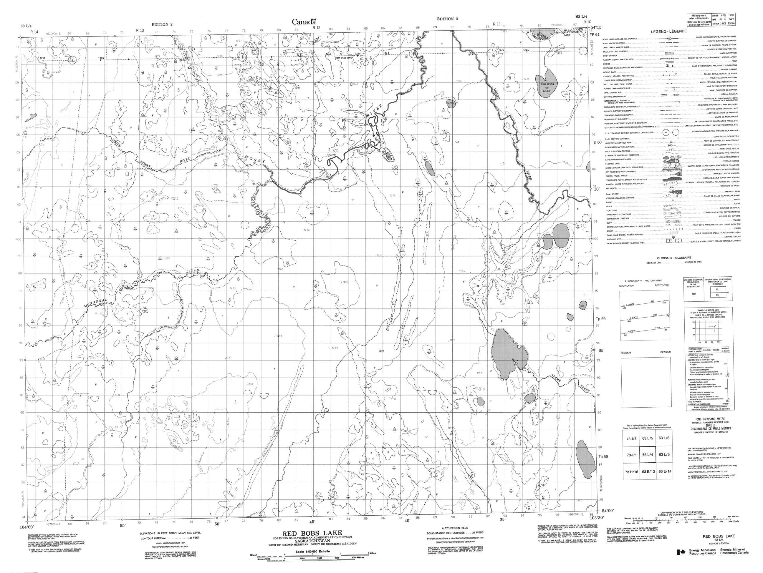 Buy Red Bobs Lake Topographic Map Nts Sheet 063l04 At 1