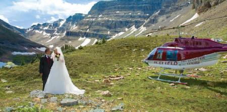 Wedding planner Naturally Chic can help you with every detail of your Canadian Rockies wedding, even if it involves a helicopter.