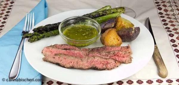 Marijuana Recipes - Flank Steak with Cheeba Chimichurri Sauce