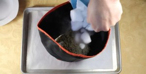 Making Dry Ice Kief: Add dry ice and marijuana to the bubble bag and shake, shake shake!