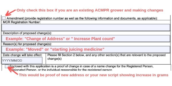 Example Canada marijuana license form existing grower change of address