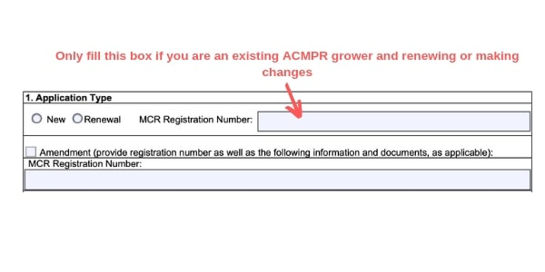 Example Canada marijuana license form existing grower MCR registration number