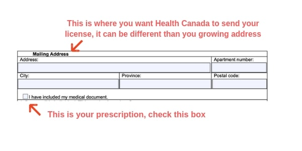 Example Canada marijuana license form mailing address
