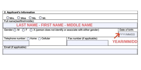 Example Canada marijuana license form name and date of birth