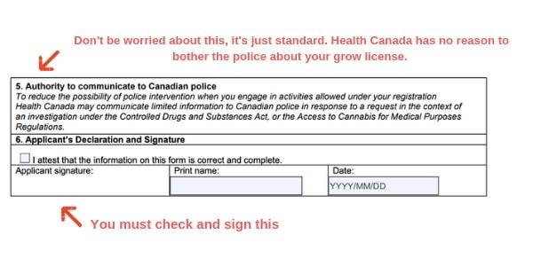 Example Canada marijuana license form police authorization