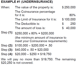 Calculating coinsurance example of being underinsured