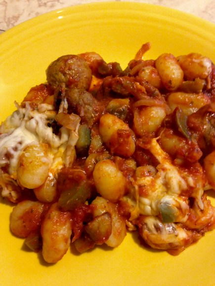 meatball gnocchi casserole plated