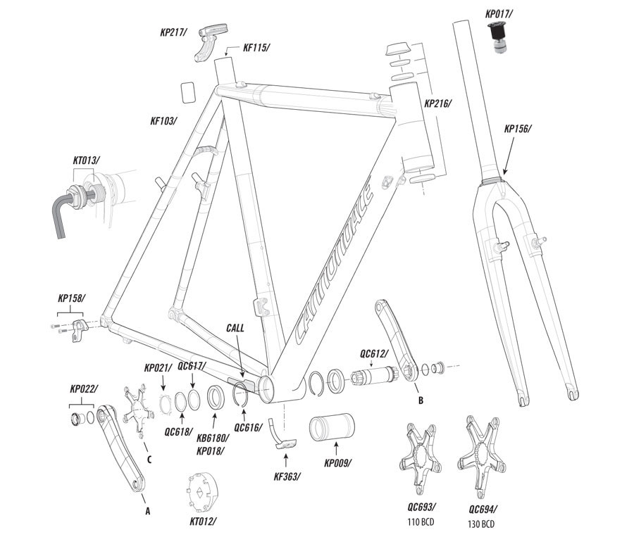 Cannondale SuperX (2011-2012) Parts List and Exploded