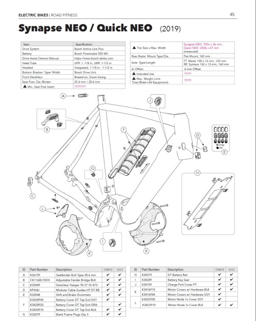 small resolution of cannondale synapse quick neo parts list and exploded diagram
