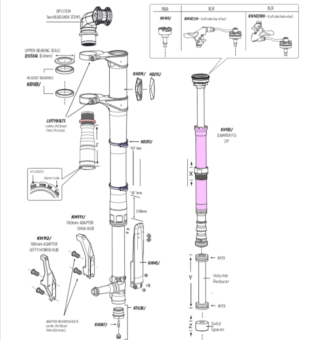 Cannondale Lefty 2.0 Parts List and Exploded Diagram
