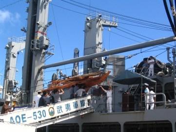 Taiwan canoe - and aboard the ship