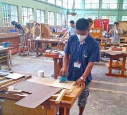 Linton Baso in the carpentry workshop in Taiwan.