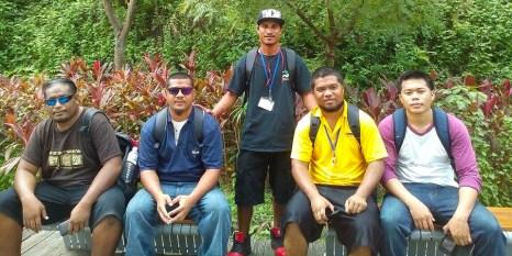 The Marshallese in Taiwan, from left, are Doug Silk of MEC, Ceo John of Ebeye KAJUR, Linton Baso of WAM, Monean Anjain of AutoKwaj, and Carlwin Amlej of MWSC.
