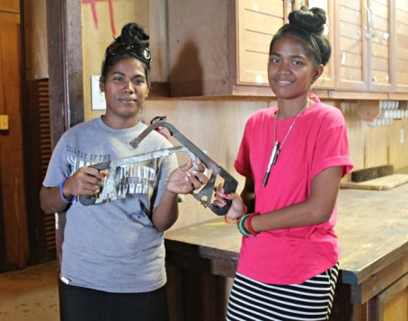 WAM Trainees Helenty and Naggie doing tool inventory. Photo: Tolina Tomeing