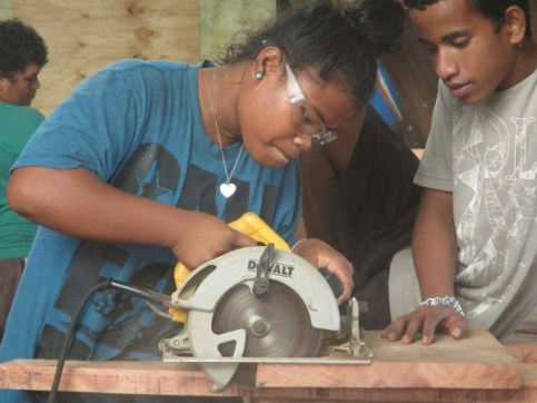 Trainee Thumblina Muller working with the tools of the trade. Photo: Isocker Anwell