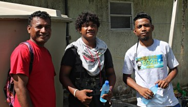 Wellness Supervisor, Sovennir Kebos, and Darween Gideon. Trainees were learning seed planting. Photo: Sealand Laiden