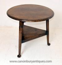 English Oak Farmhouse Cricket Table Side Tables
