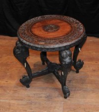 Antique Burmese Hand Carved Elephant Side Table Coffee Tables