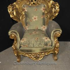 French Bergere Chair Covers Norfolk Antique Rococo Sofa Suite Gilt Arm Chairs Lounge Chippendale