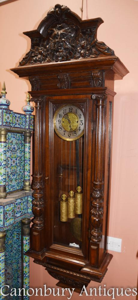 Antique Mahogany Vienna Regulator Wall Clock Hand Carved Viennese