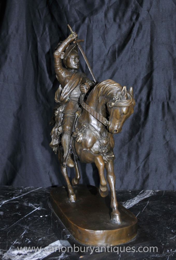 English Bronze Knight Horseback Statue Horse Knights