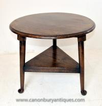 English Oak Farmhouse Cricket Table Side Tables