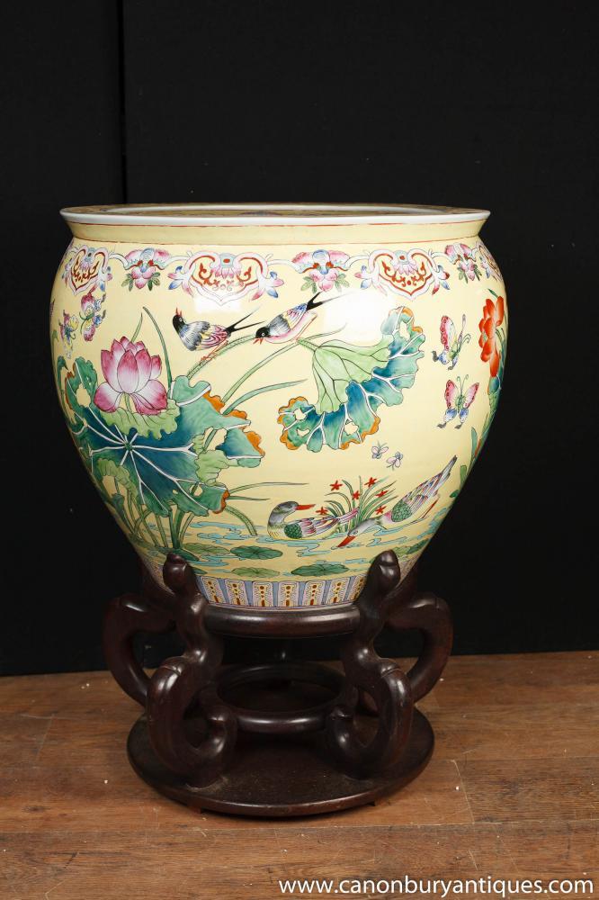 Large Chinese Porcelain Famille Rose Planter Bowl Urn China Ceramic