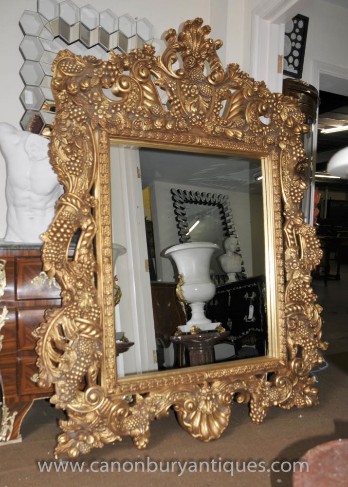 Large Italian Baroque Gilt Pier Mirror Glass Mirrors