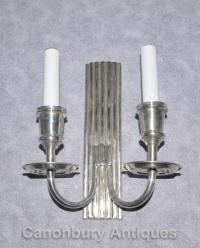 Pair Art Nouveau Silver Plate Sconces Wall Lights ...