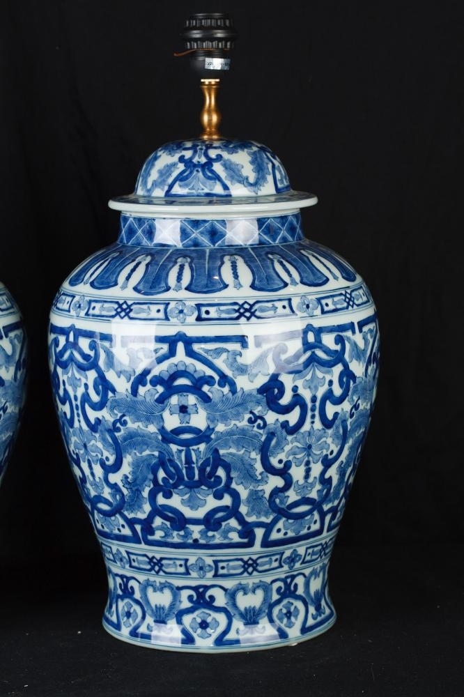 Pair Chinese Blue and White Porcelain Urn Lamps Ginger Jar Table Lights