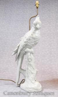 Pair English Porcelain Parrot Lamp Bases Table Lamps