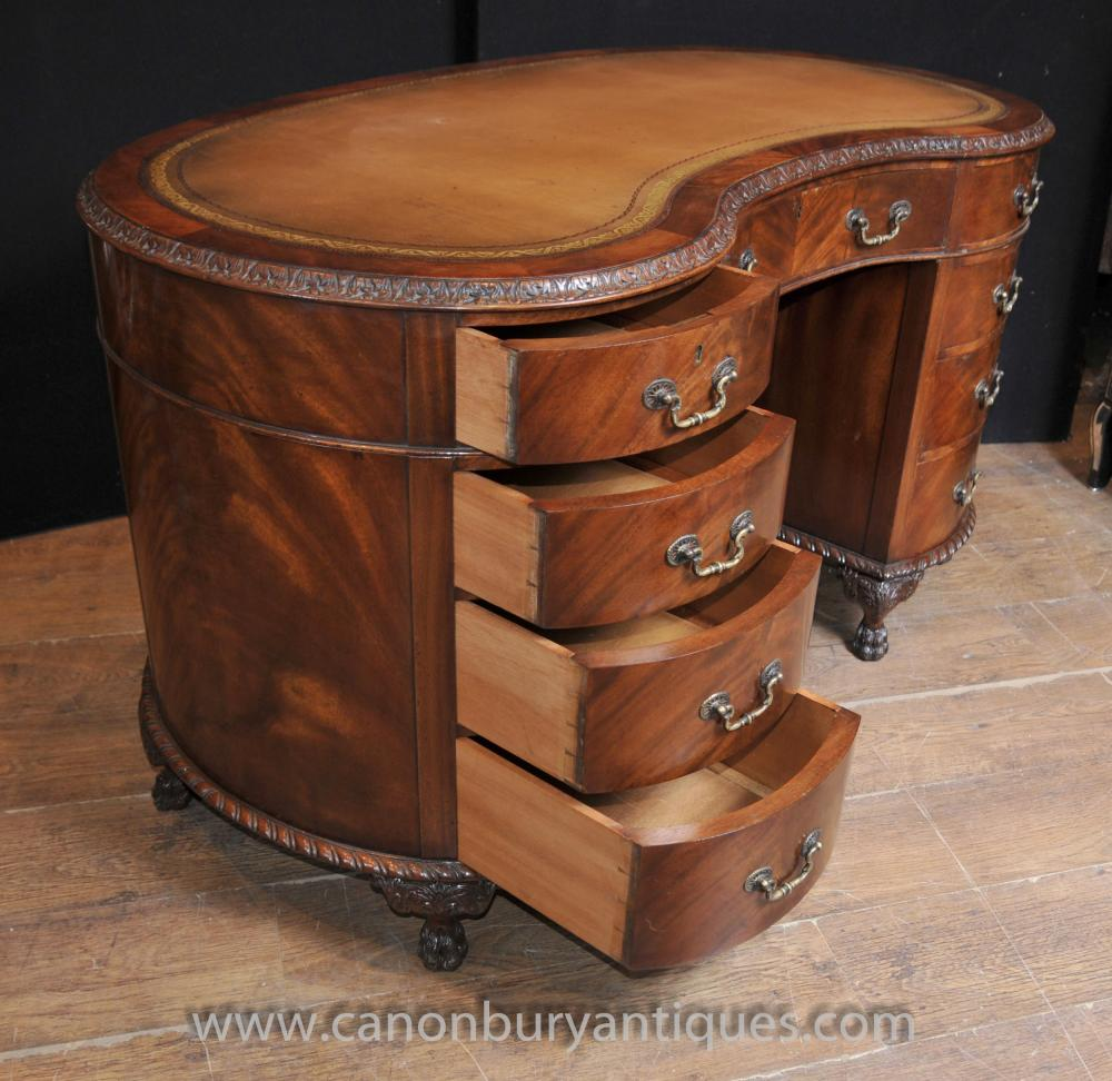 Regency Antique Kidney Desk Writing Table Mahogany Furniture