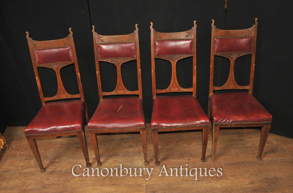 Set 4 Antique Art Nouveau Dining Chairs 1890 Arts and