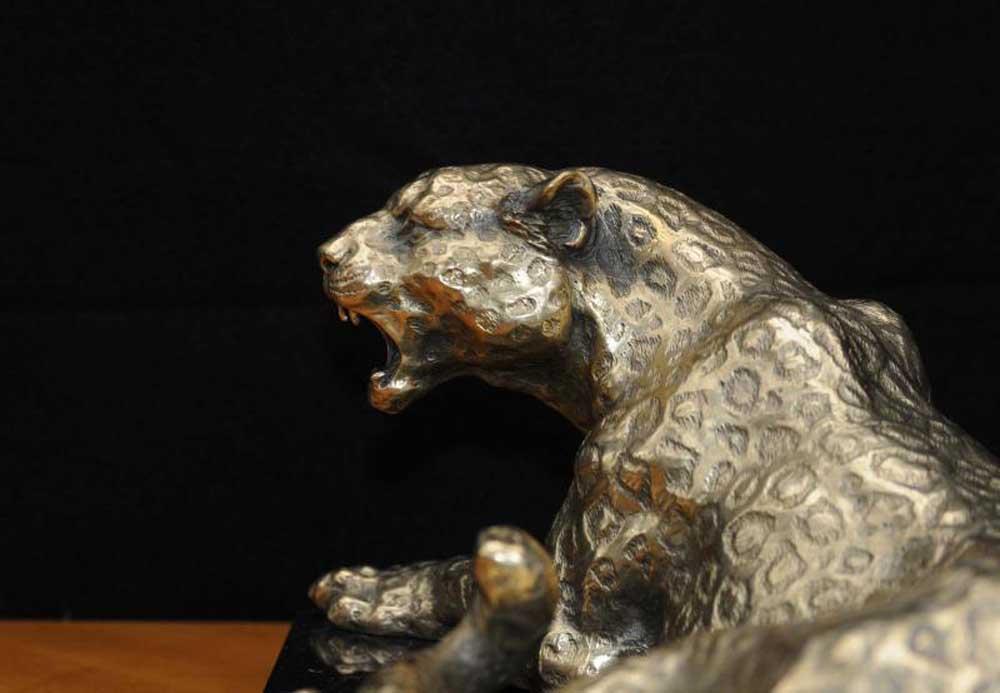 Art Deco Silver Bronze Panther Leopard Cat Statue Figurine