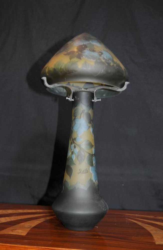 Art Nouveau Glass Table Lamp Galle Manza Lights