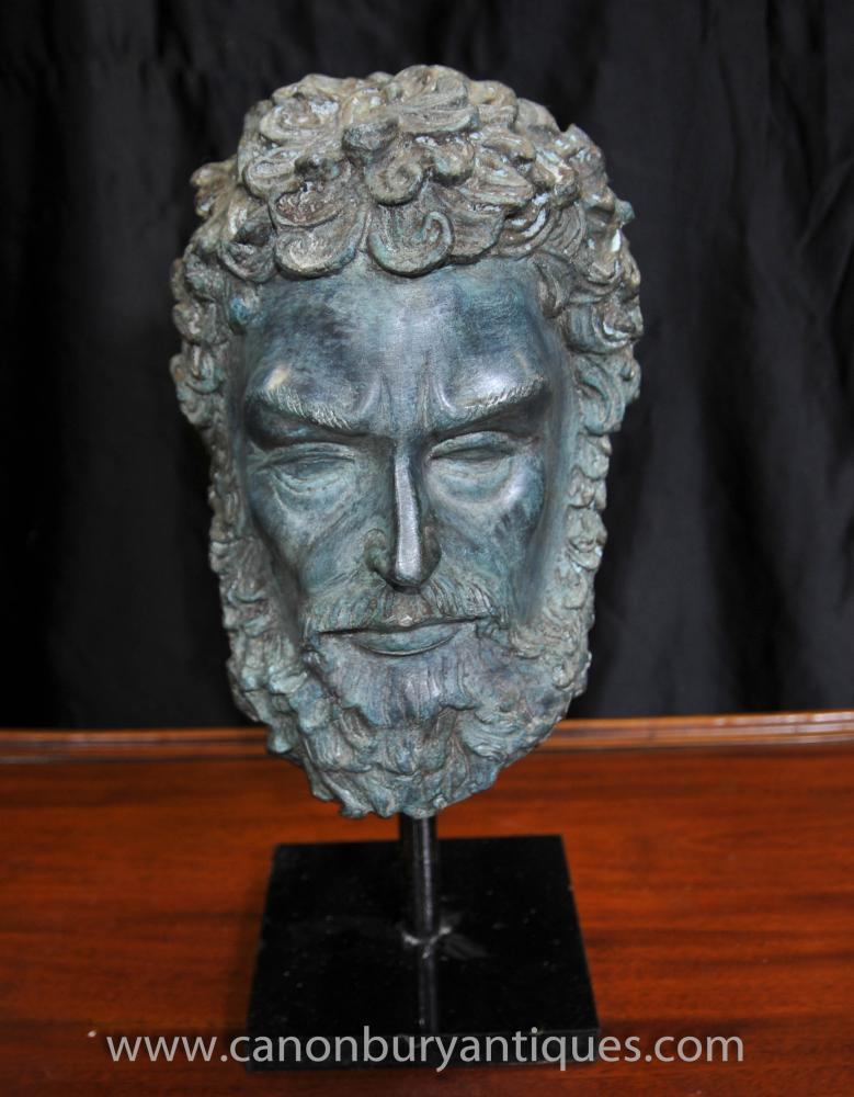 Bronze Bust Plato Mask Sculpture Greek Philosopher