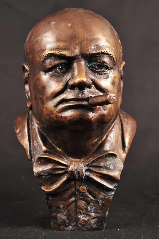 Bronze Bust Winston Churchill Signed English Prime Minister