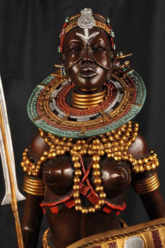 Bronze Casting African Kenyan Warrior Massai