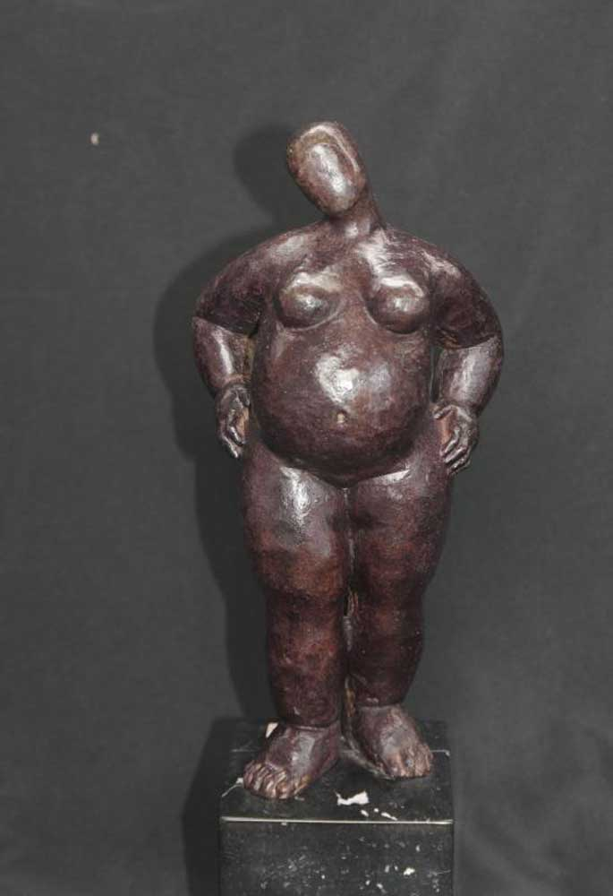 Bronze Female Rubenesque Figurine Statue